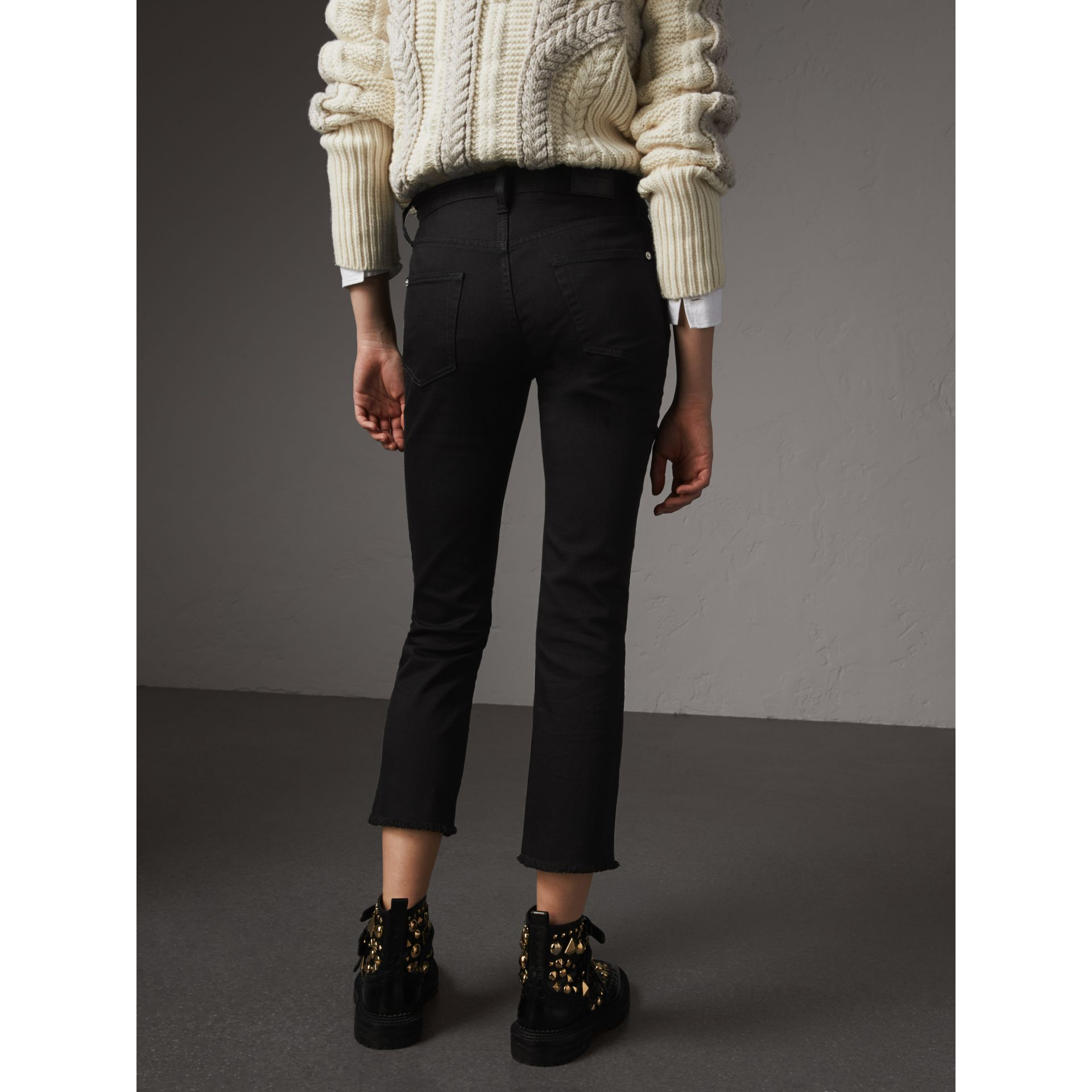 Frayed Hem Cropped Jeans in Black - Women | Burberry - gallery image 2