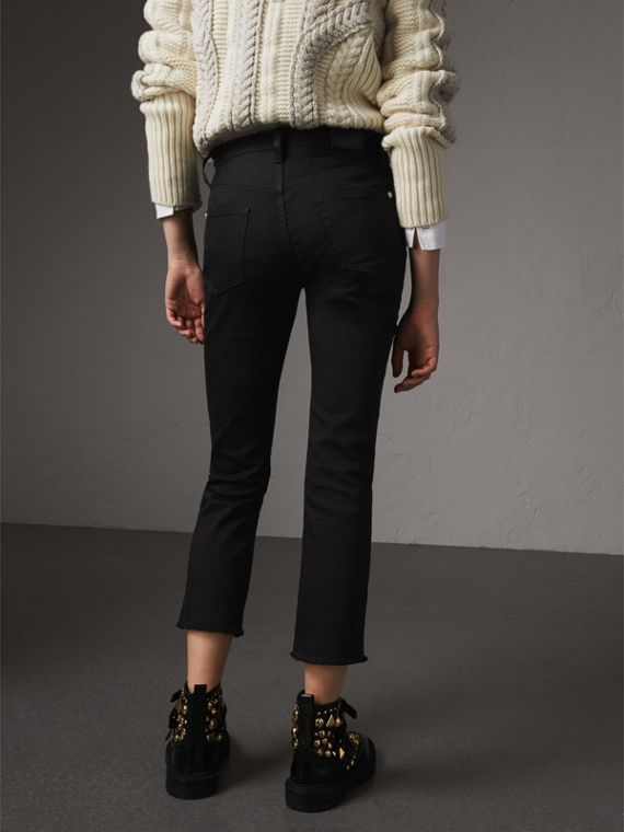 Frayed Hem Cropped Jeans in Black - Women | Burberry - cell image 2