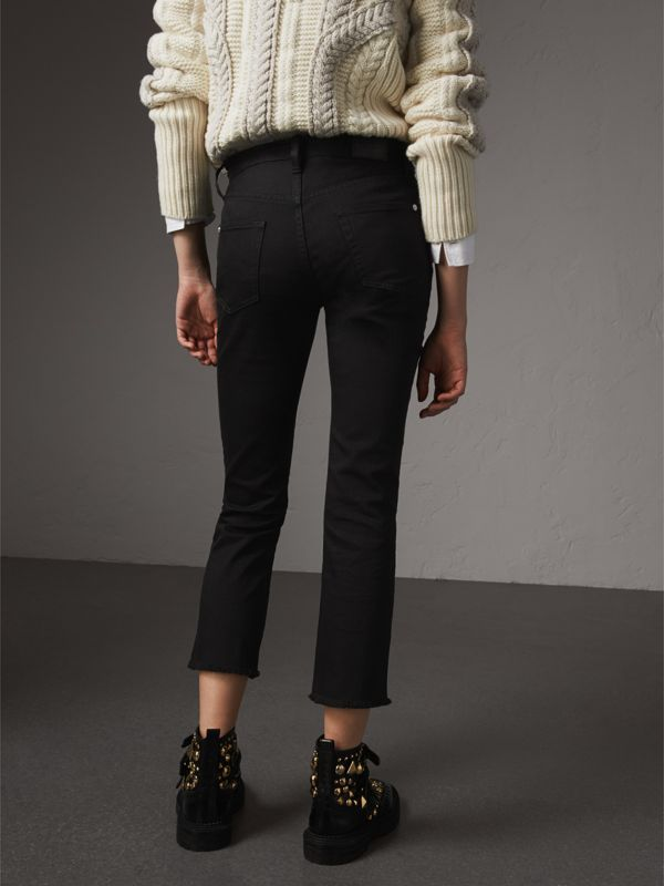 Frayed Hem Cropped Jeans in Black - Women | Burberry Hong Kong - cell image 2