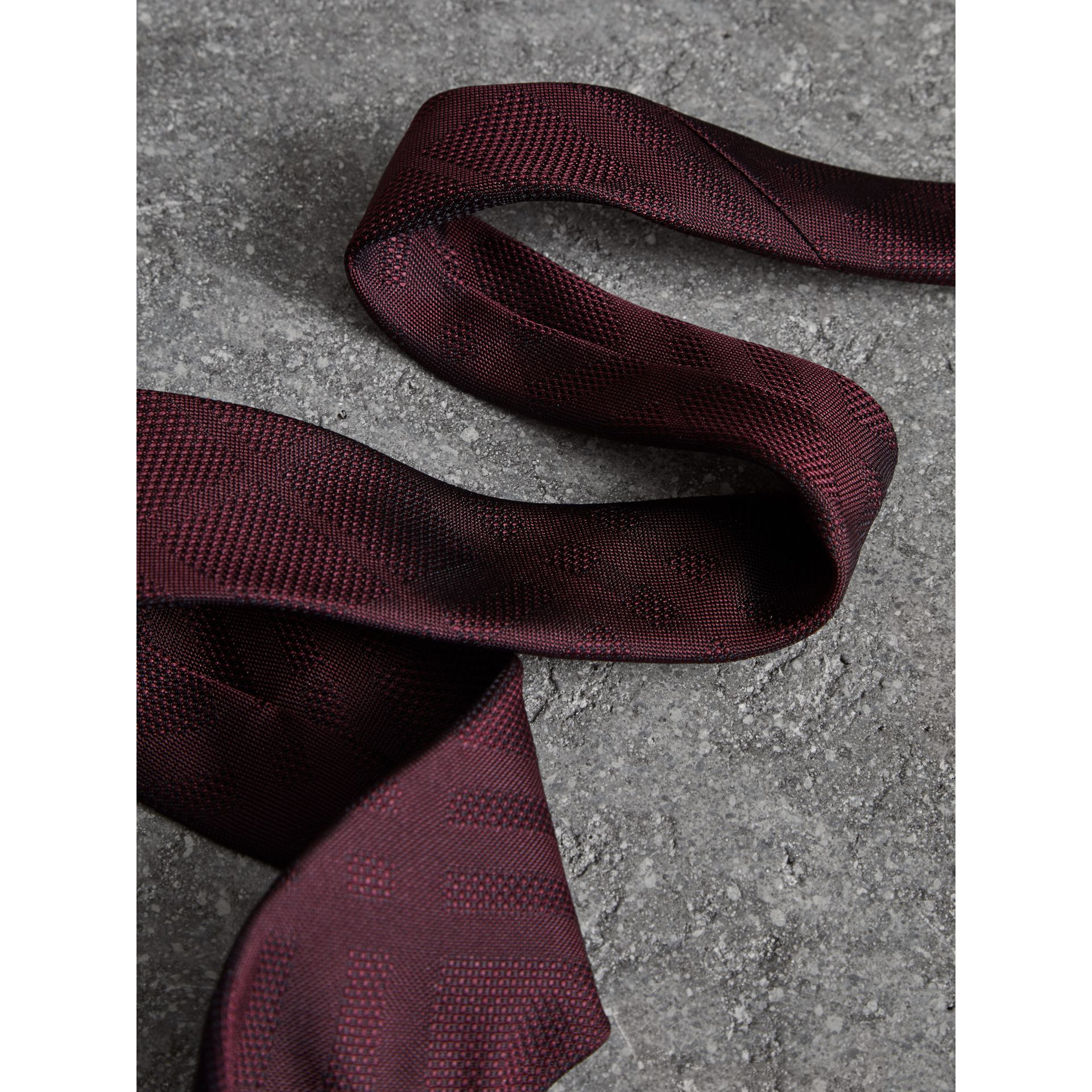Modern Cut Check Silk Tie in Deep Claret - Men | Burberry Hong Kong - gallery image 1
