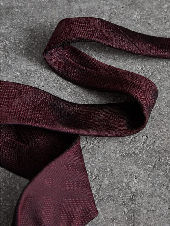 Modern Cut Check Silk Tie in Deep Claret - Men | Burberry - cell image 1