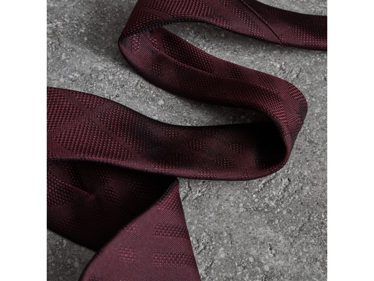 Modern Cut Check Silk Tie in Deep Claret - Men | Burberry Hong Kong - cell image 1