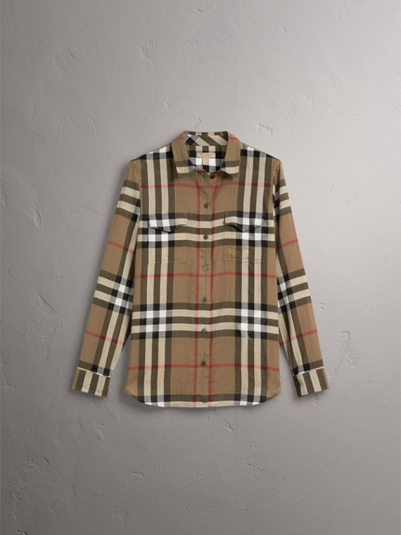 Check Cotton Shirt in Taupe Brown - Women | Burberry Australia - cell image 3