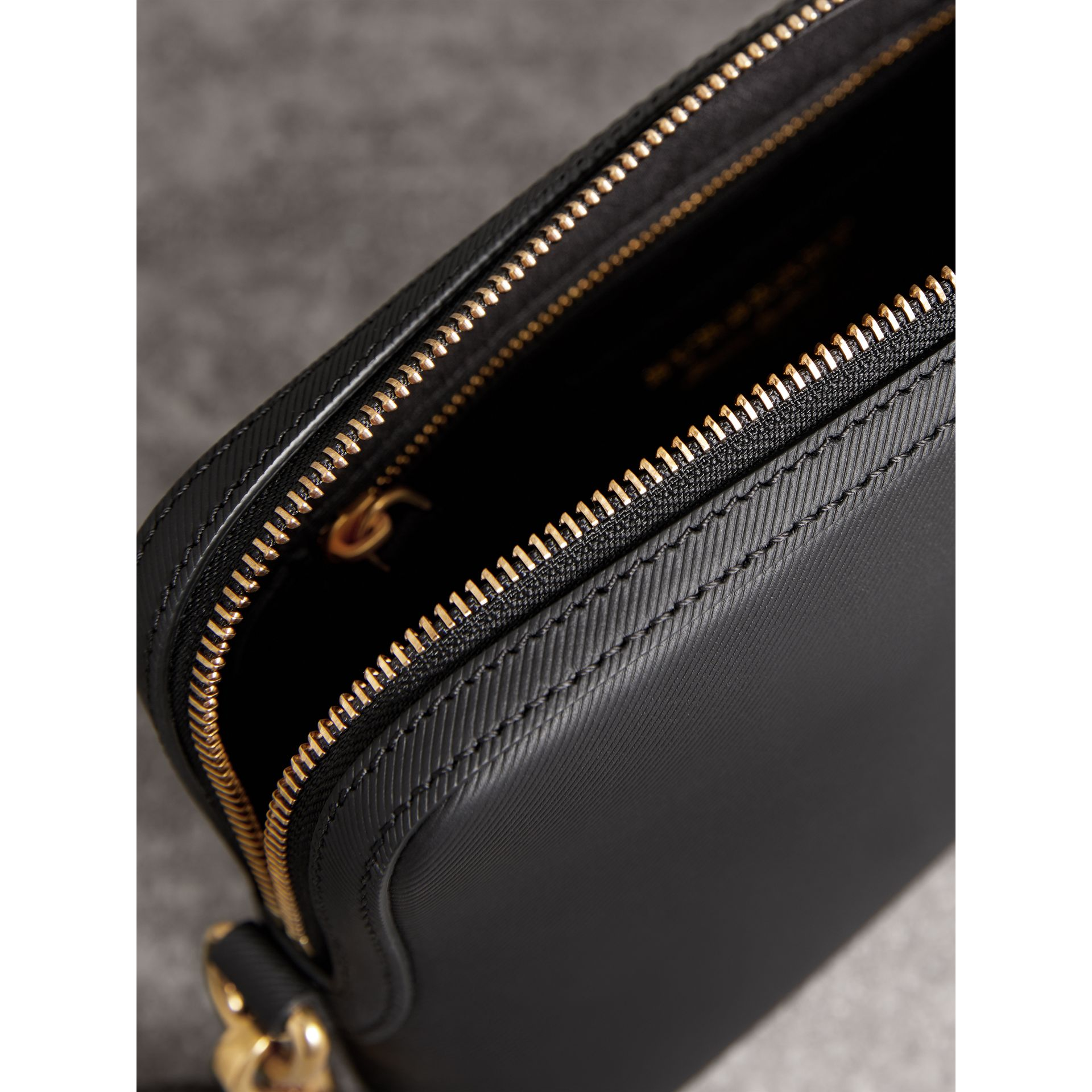 Trench Leather Pouch in Black | Burberry Canada - gallery image 4
