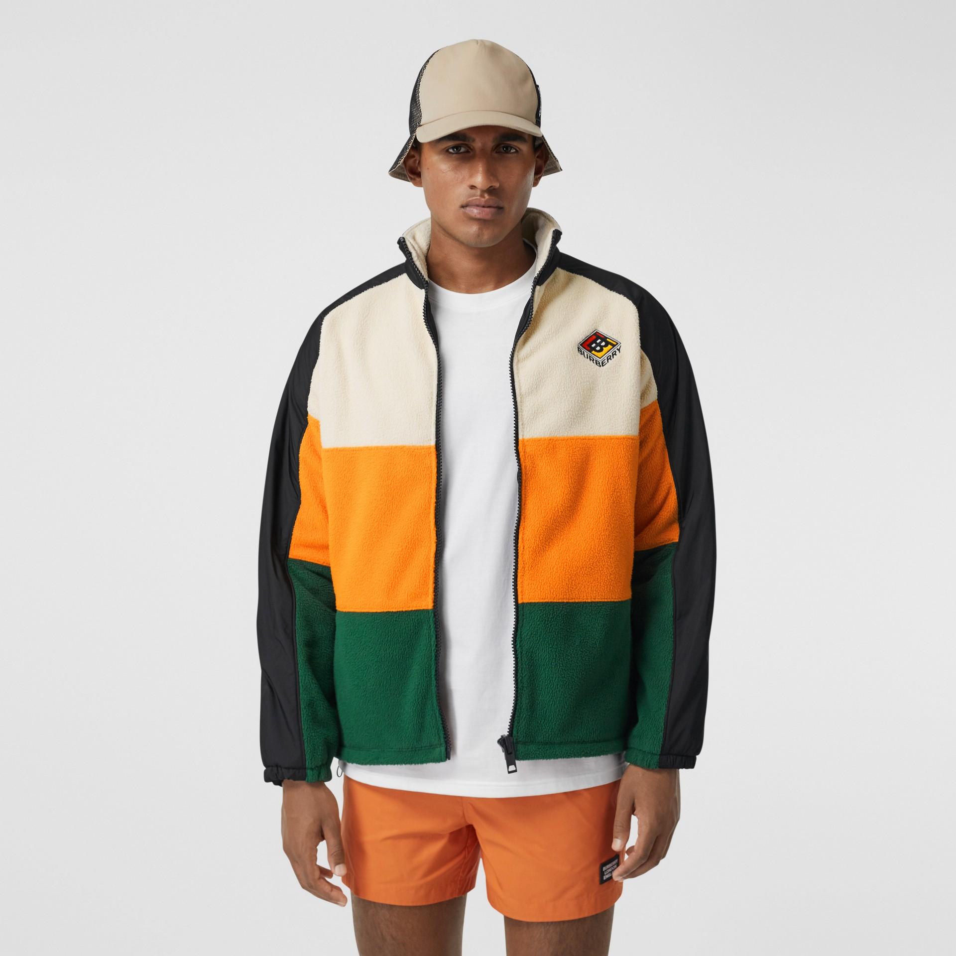 Logo Graphic Striped Fleece Jacket in Black - Men | Burberry - gallery image 4