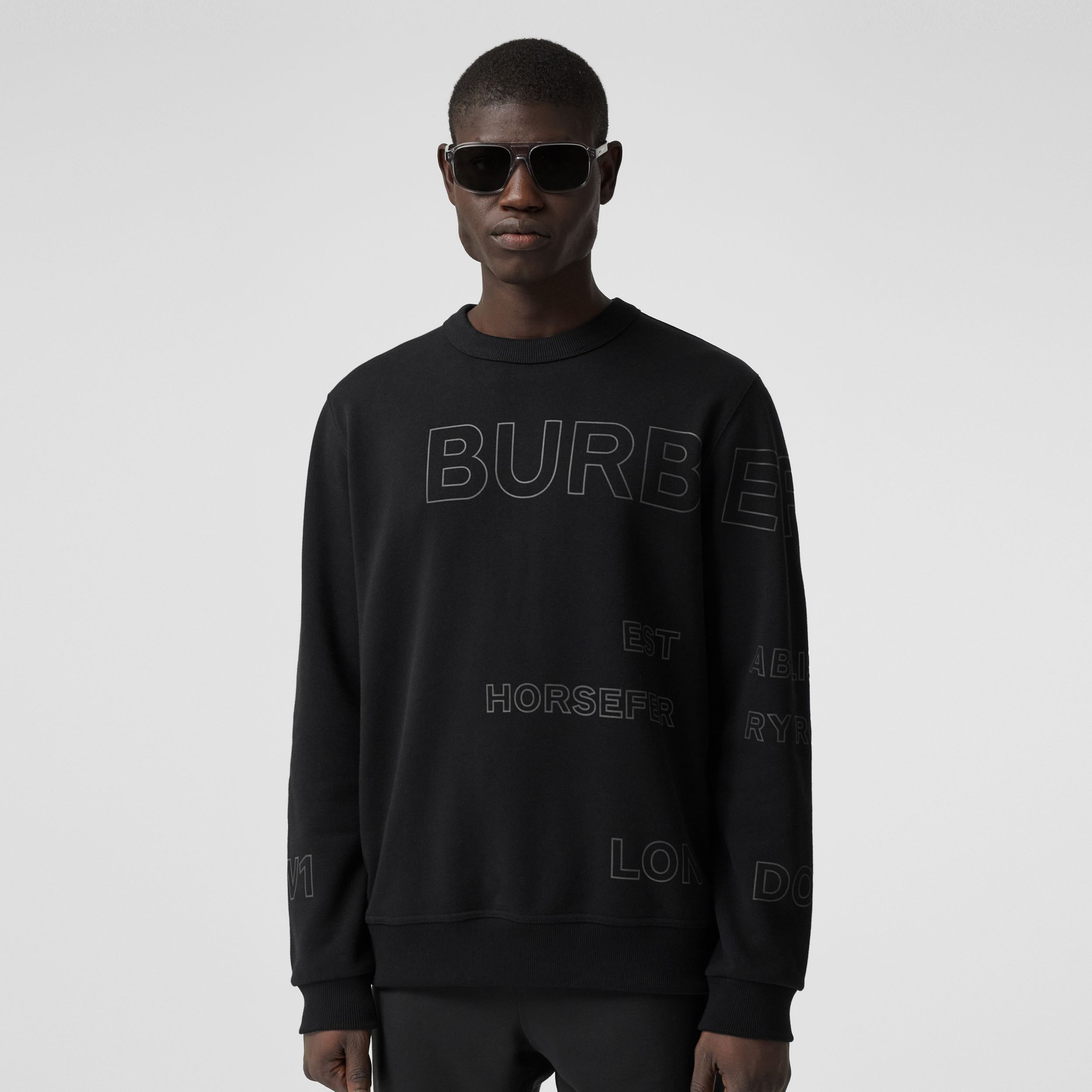 Horseferry Print Cotton Sweatshirt in Black - Men | Burberry Australia - 1