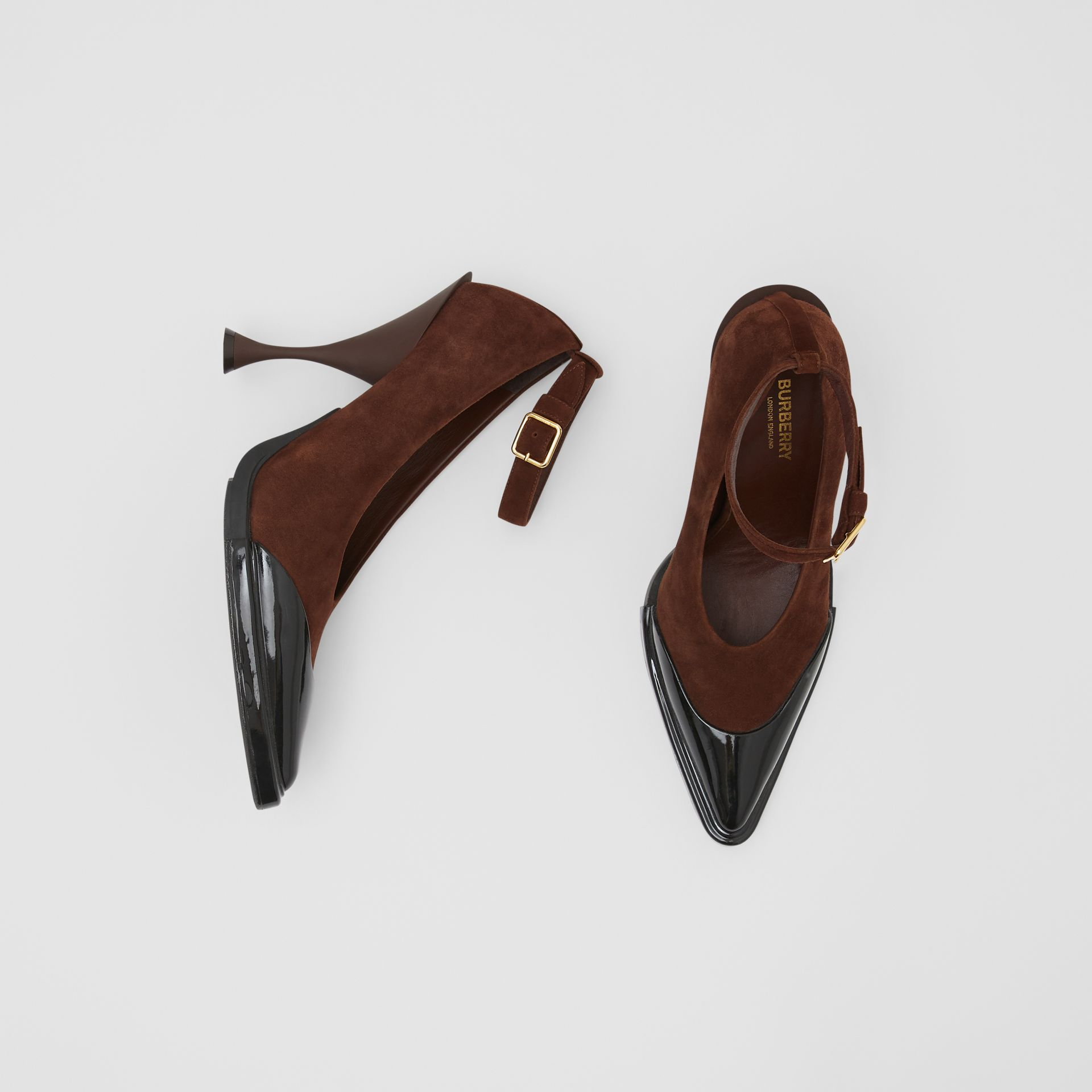 Toe Cap Detail Leather Point-toe Pumps in Dark Mocha - Women | Burberry - gallery image 0