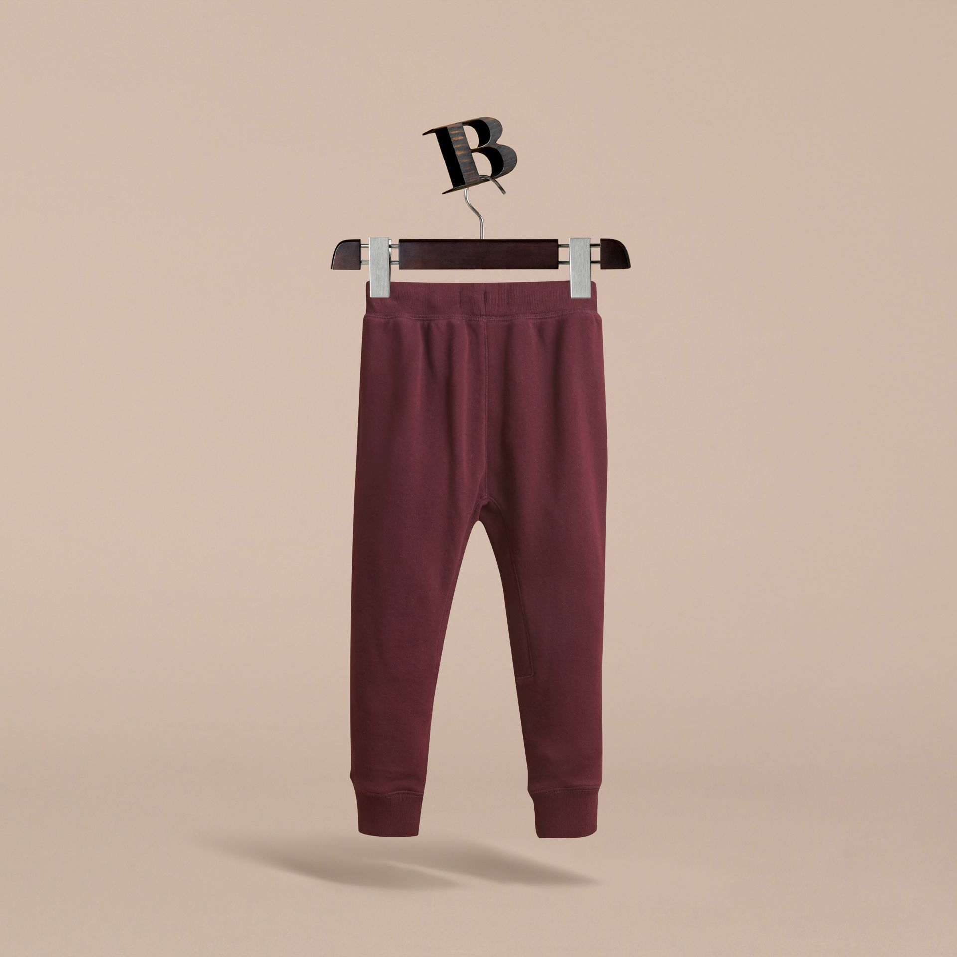 Drawcord Cotton Sweatpants in Burgundy - Boy | Burberry United Kingdom - gallery image 4