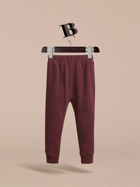 Drawcord Cotton Sweatpants in Burgundy - Boy | Burberry Australia - cell image 3