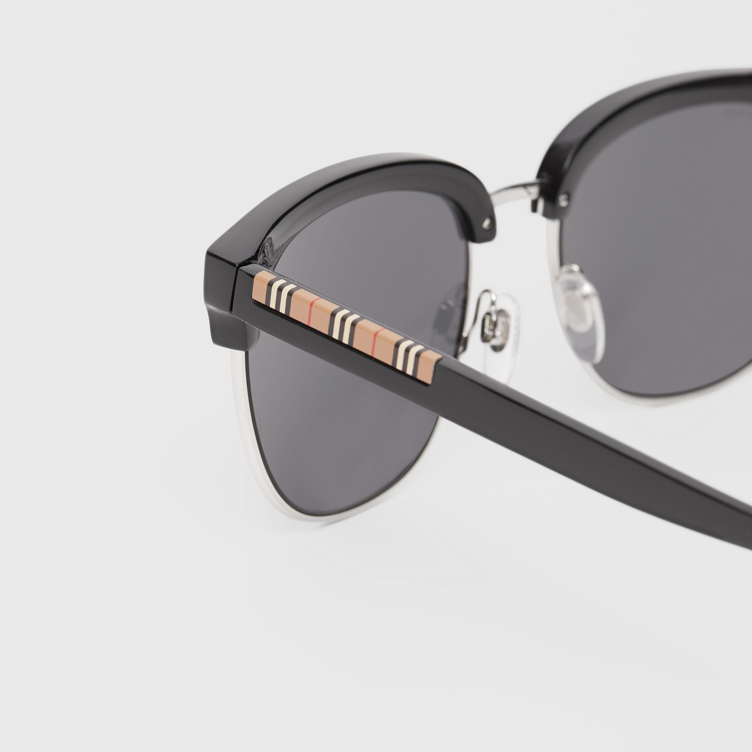 Icon Stripe Detail Square Frame Sunglasses in Black - Men | Burberry - 2