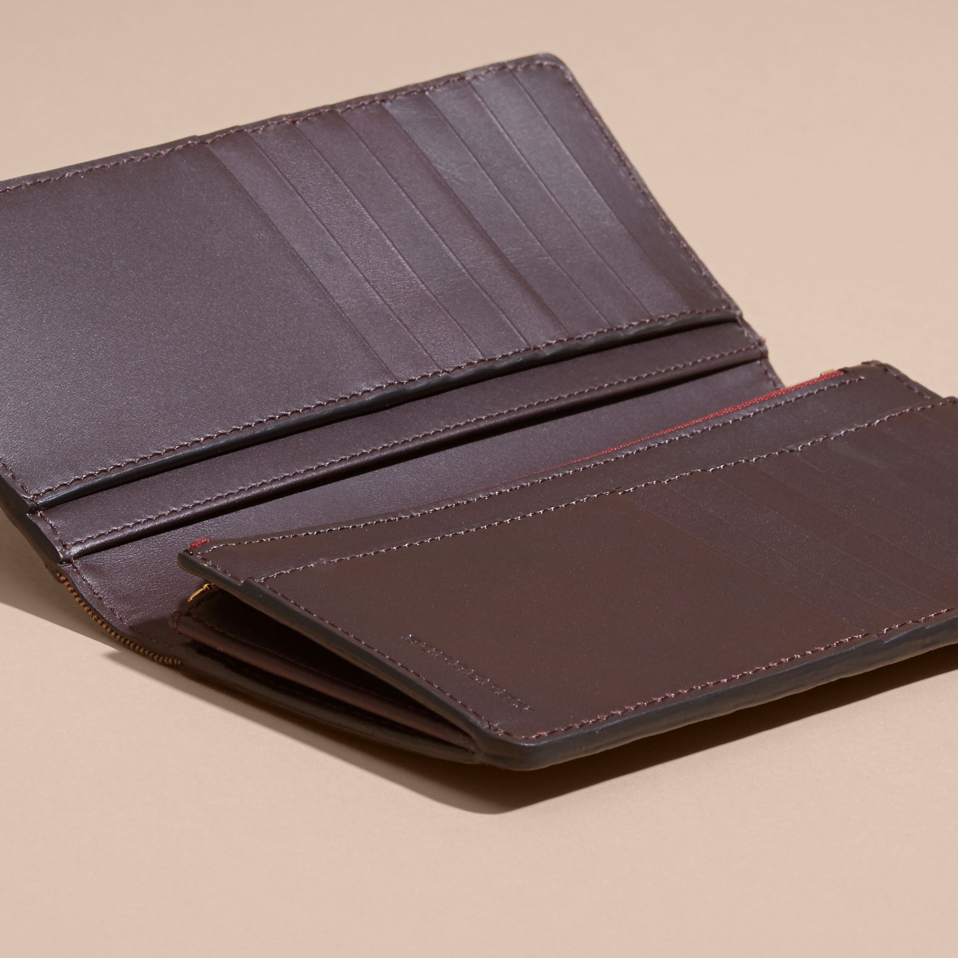 Wine House Check and Grainy Leather Continental Wallet Wine - gallery image 5