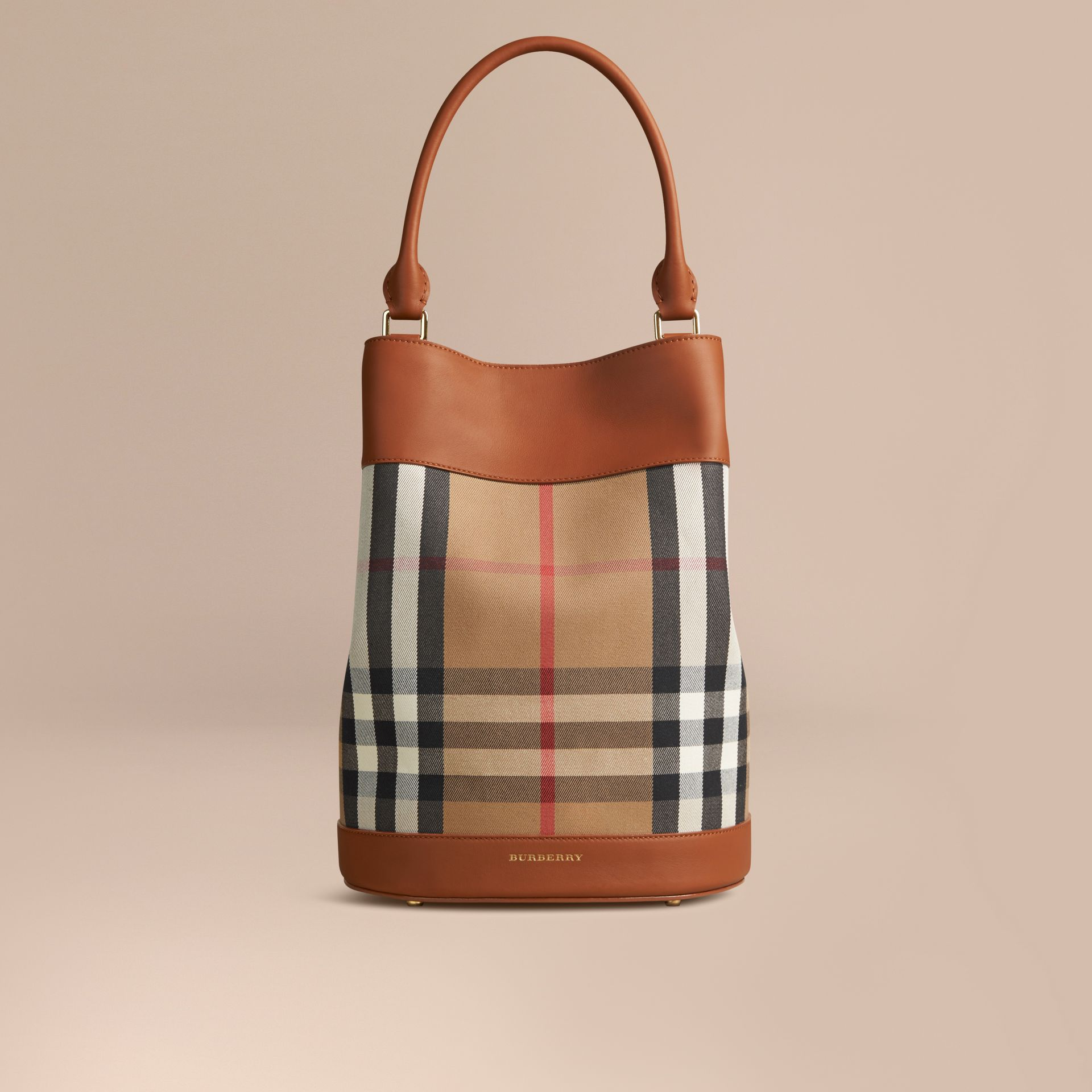Light toffee The Bucket Bag in House Check and Leather Light Toffee - gallery image 1