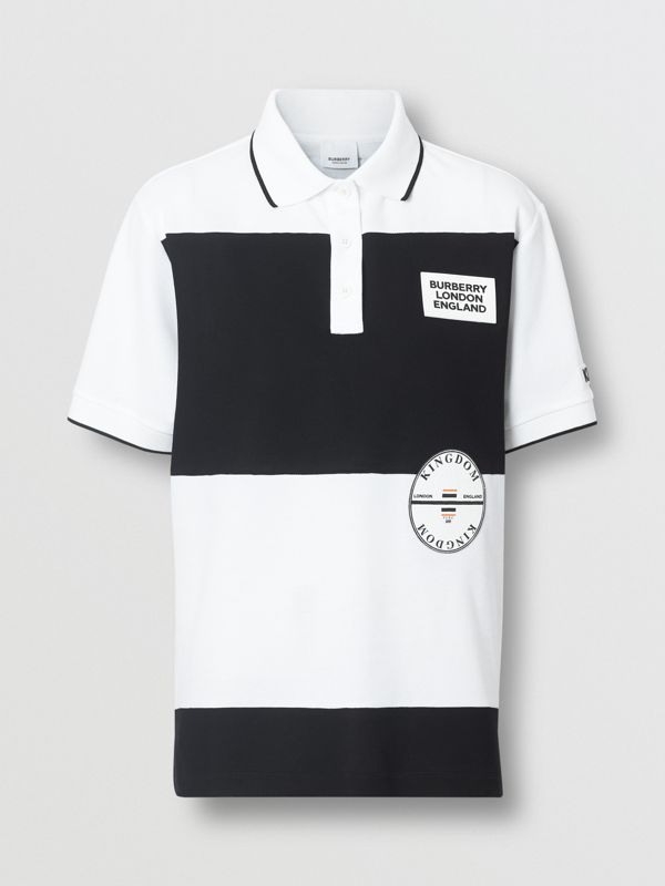 Logo Appliqué Striped Cotton Oversized Polo Shirt in White - Women | Burberry - cell image 3