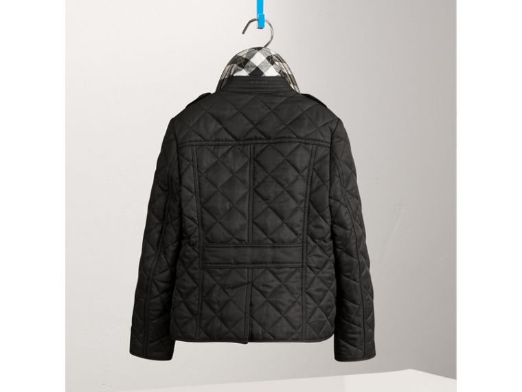 Check Lined Diamond Quilted Jacket in Black - Girl | Burberry United Kingdom - cell image 1