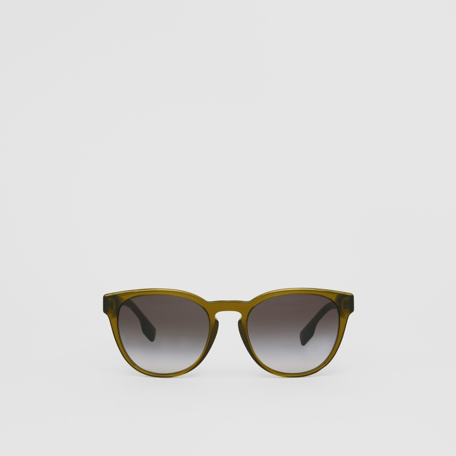 Round Frame Sunglasses in Olive - Men | Burberry Australia - gallery image 0