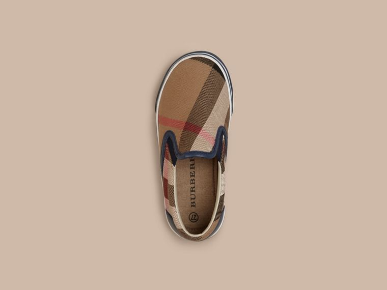 House Check Cotton Slip-On Trainers in Navy - cell image 1