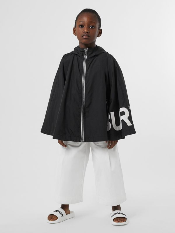 Logo Print Hooded Cape in Black | Burberry - cell image 2