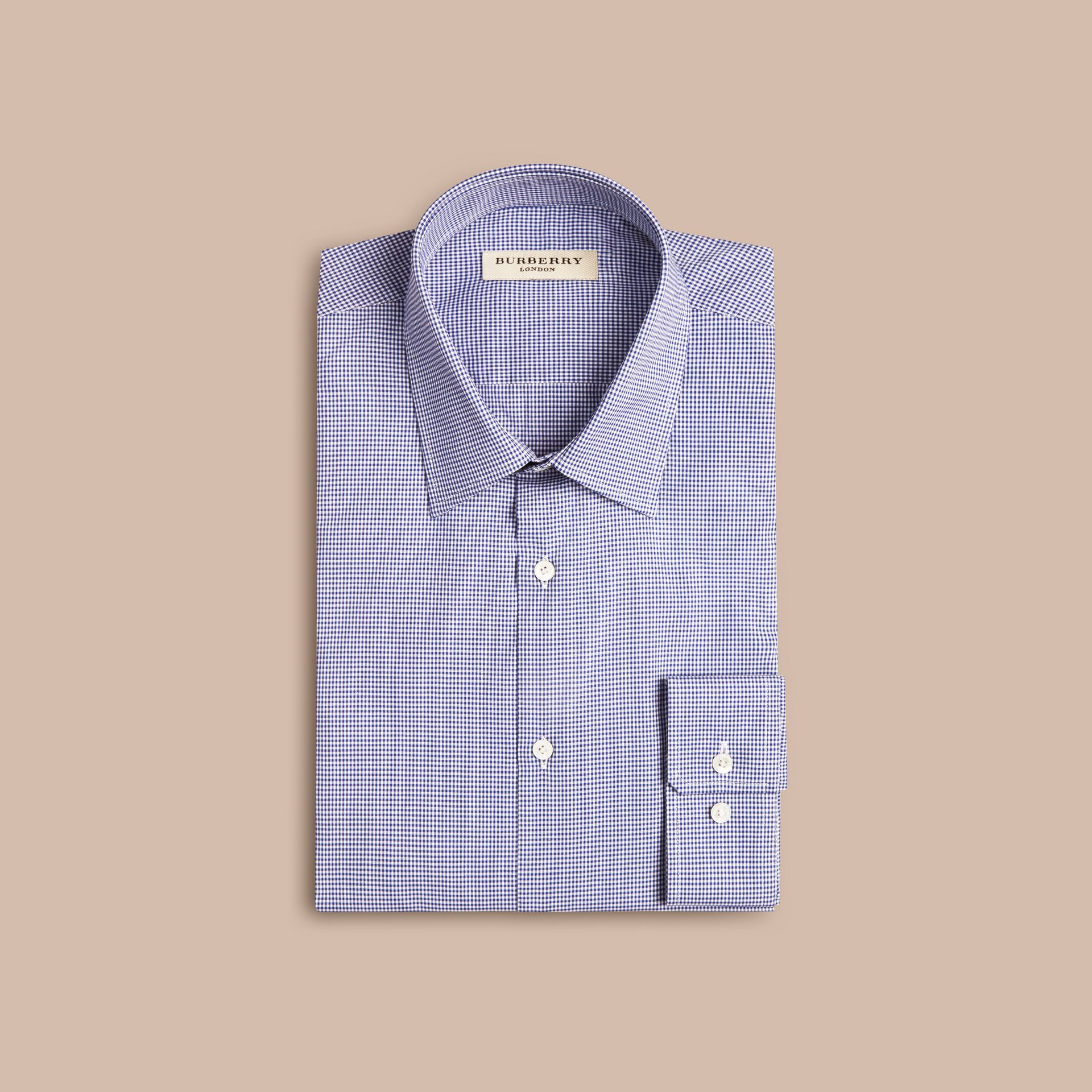 Modern Fit Gingham Cotton Poplin Shirt in Dark Empire Blue - gallery image 4