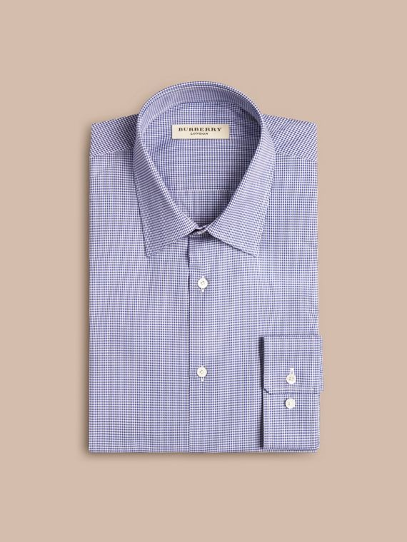 Modern Fit Gingham Cotton Poplin Shirt Dark Empire Blue - cell image 3