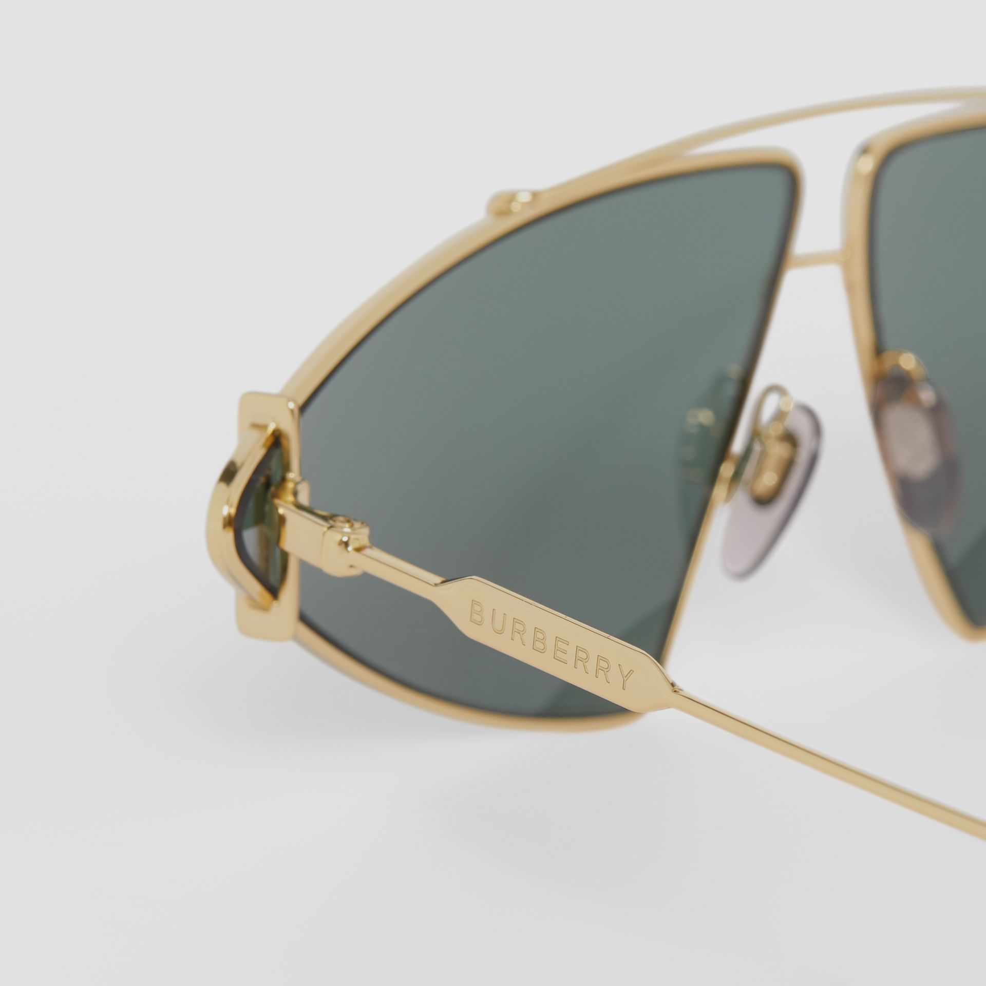 Gold-plated Triangular Frame Sunglasses in Pistachio - Women | Burberry - gallery image 1