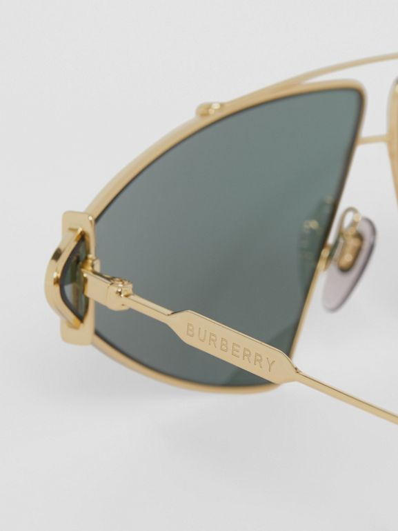 Gold-plated Triangular Frame Sunglasses in Pistachio - Women | Burberry - cell image 1