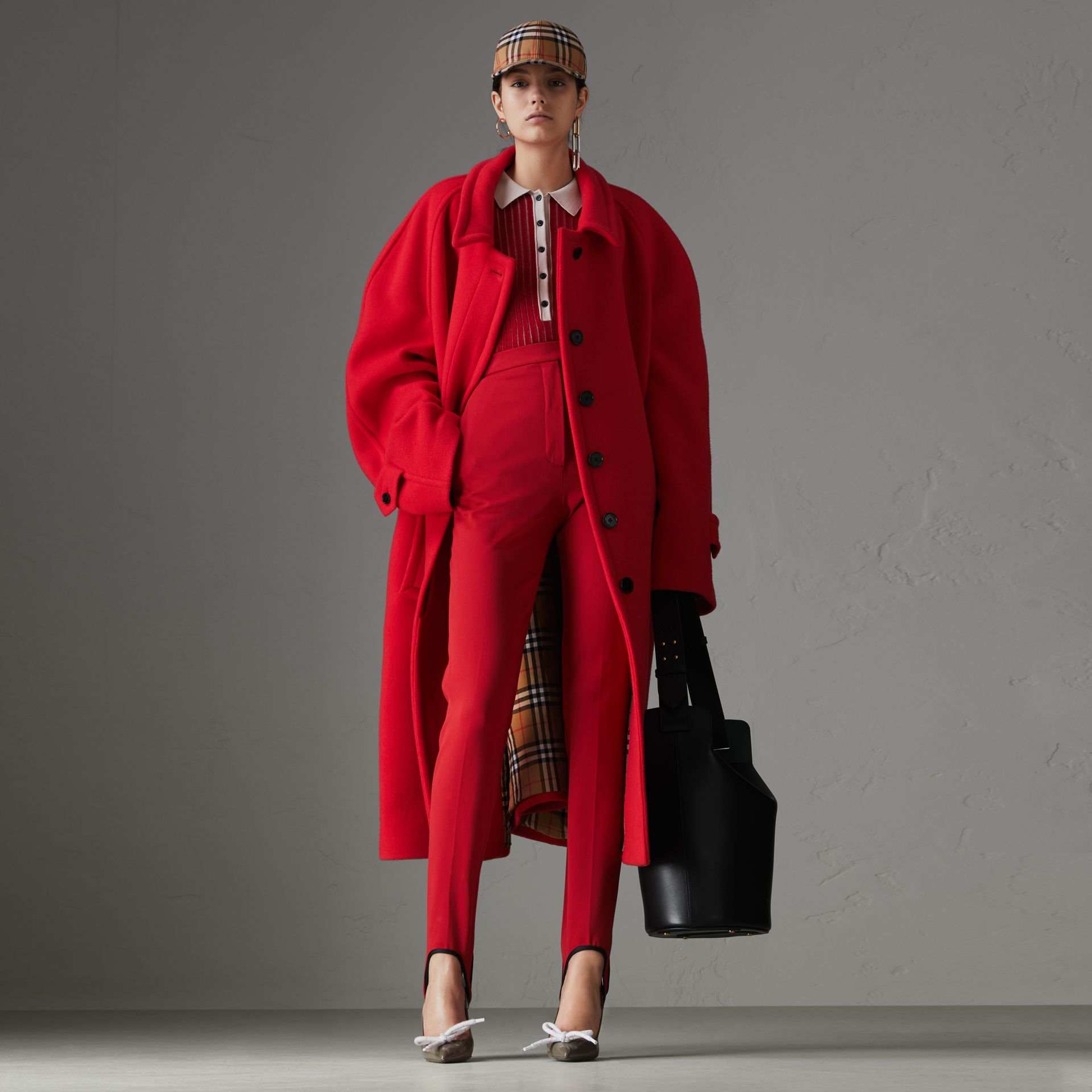 Double-faced Wool Cashmere Oversized Car Coat in Bright Red - Women | Burberry Australia - gallery image 0