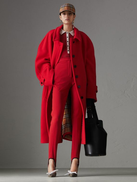 Double-faced Wool Cashmere Oversized Car Coat in Bright Red