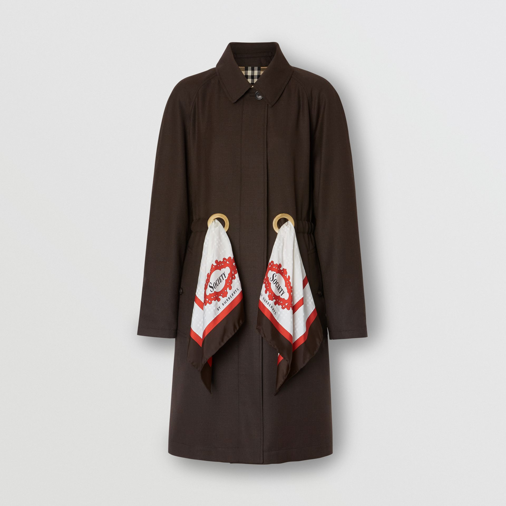 Scarf Detail Wool Car Coat in Coffee - Women | Burberry - gallery image 3