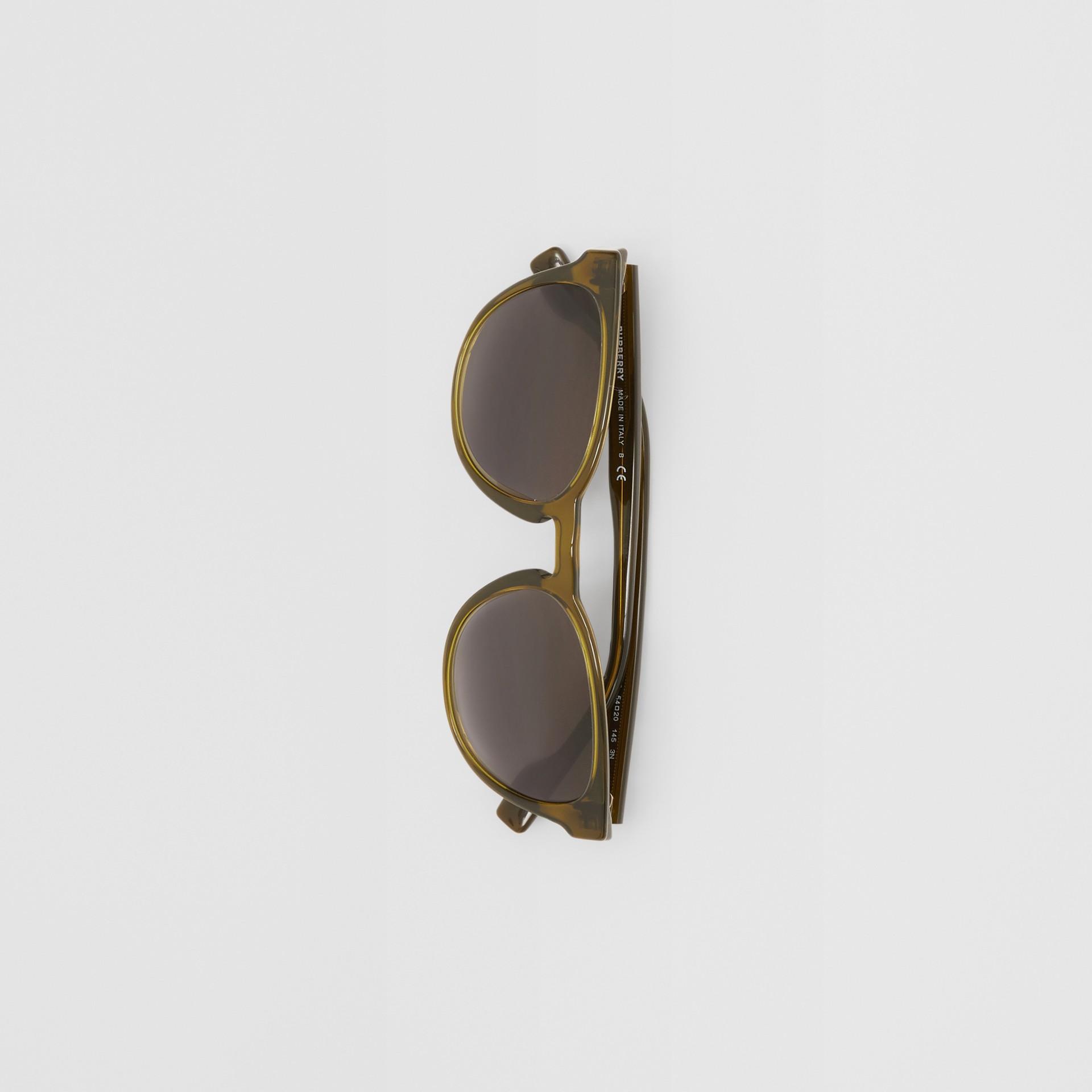 Round Frame Sunglasses in Olive - Men | Burberry Australia - gallery image 2