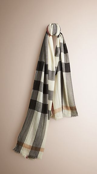 Check Cashmere Crinkled Scarf
