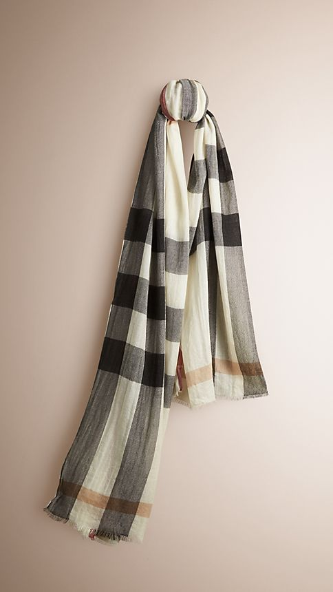 Ivory check Check Cashmere Crinkled Scarf Ivory - Image 1
