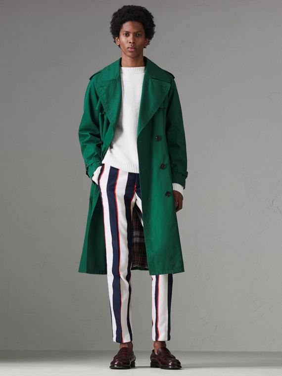Striped Cotton Wool Blend Tailored Trousers in Natural White