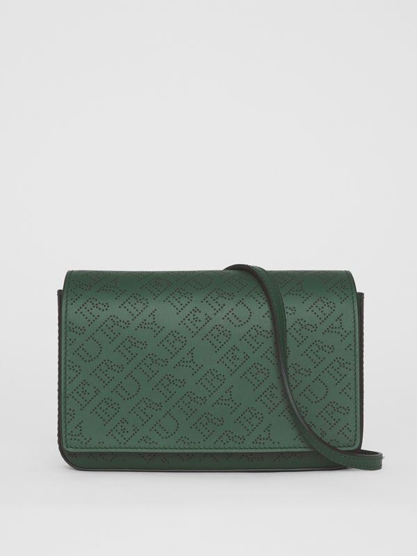 Perforated Logo Leather Wallet with Detachable Strap in Vintage Green - Women | Burberry - cell image 2