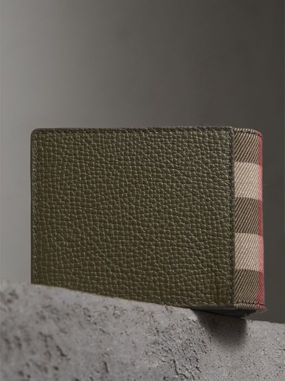 Grainy Leather and House Check Bifold Wallet in Sage - Men | Burberry - cell image 3