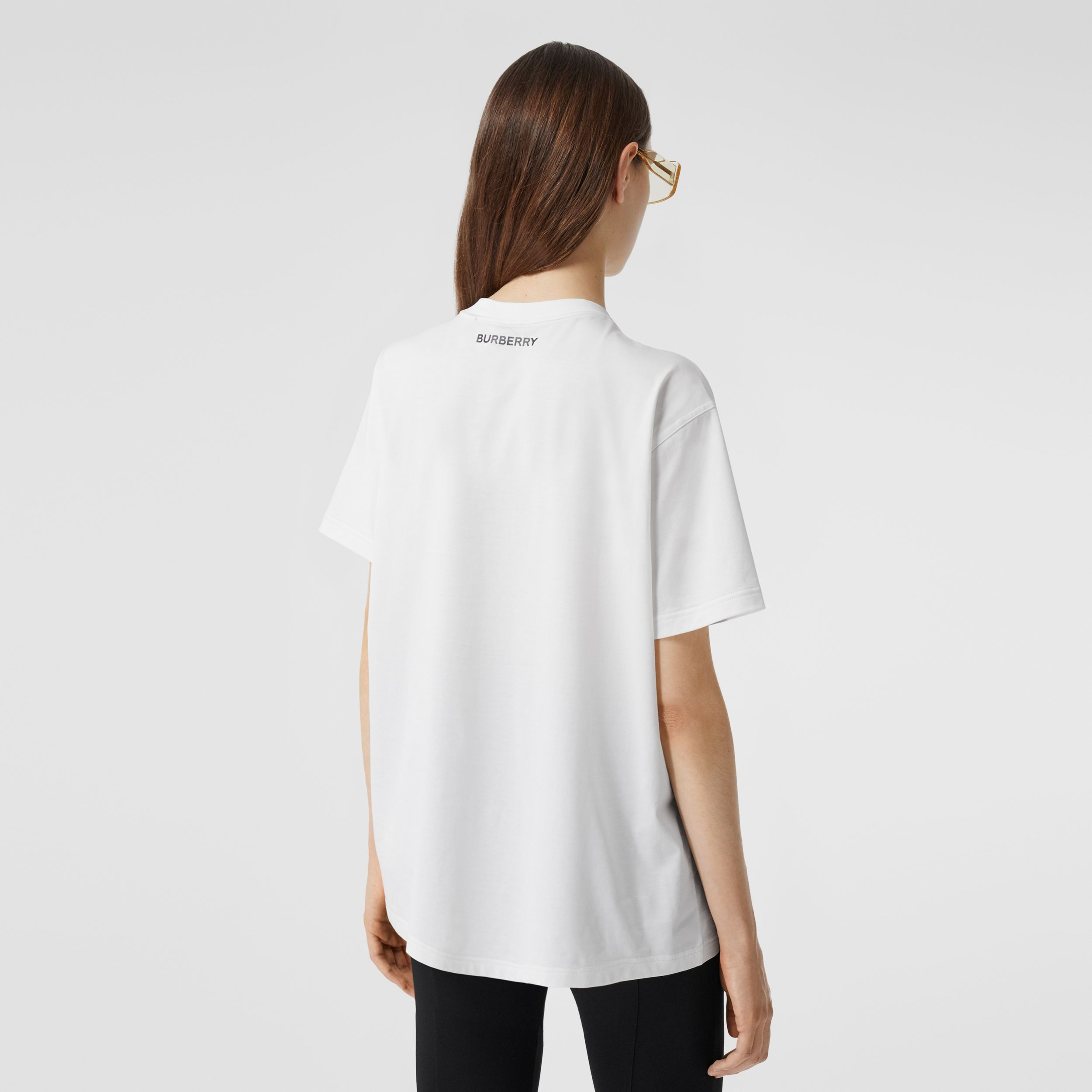 Slogan Print Cotton Oversized T-shirt in White - Women | Burberry - 3