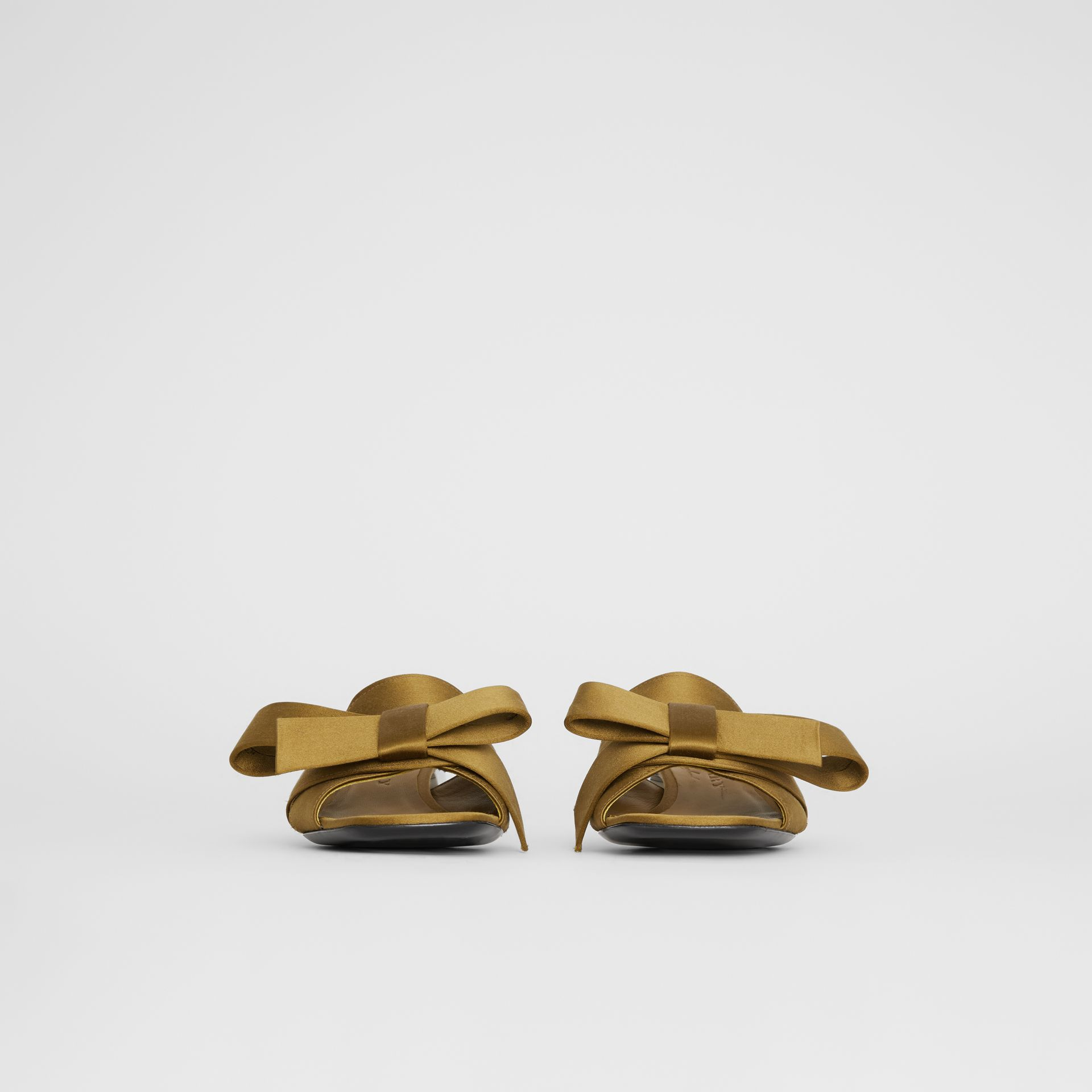 Bow Detail Satin Block-heel Mules in Antique Gold - Women | Burberry - gallery image 3