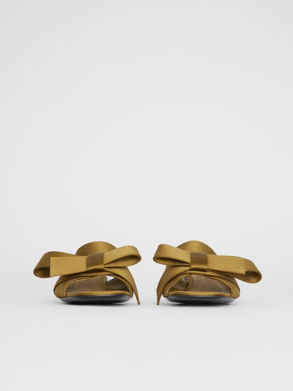 Bow Detail Satin Block-heel Mules in Antique Gold - Women | Burberry - cell image 3
