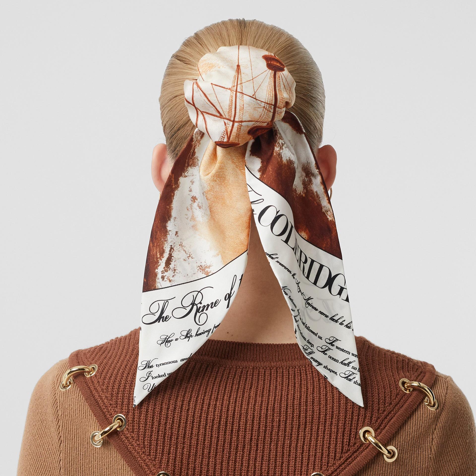 Mariner Print Silk Hair Scarf in Bronze - Women | Burberry United States - gallery image 2