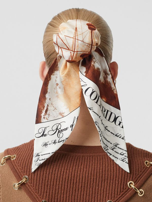 Mariner Print Silk Hair Scarf in Bronze - Women | Burberry United States - cell image 2