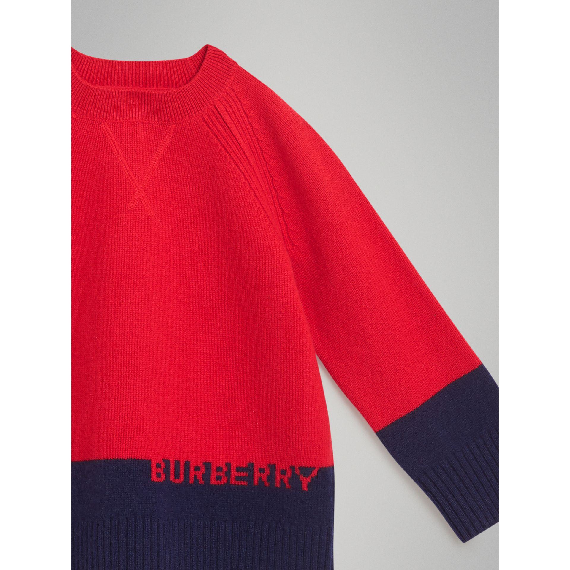 Logo Intarsia Cashmere Sweater in Bright Red | Burberry Australia - gallery image 4