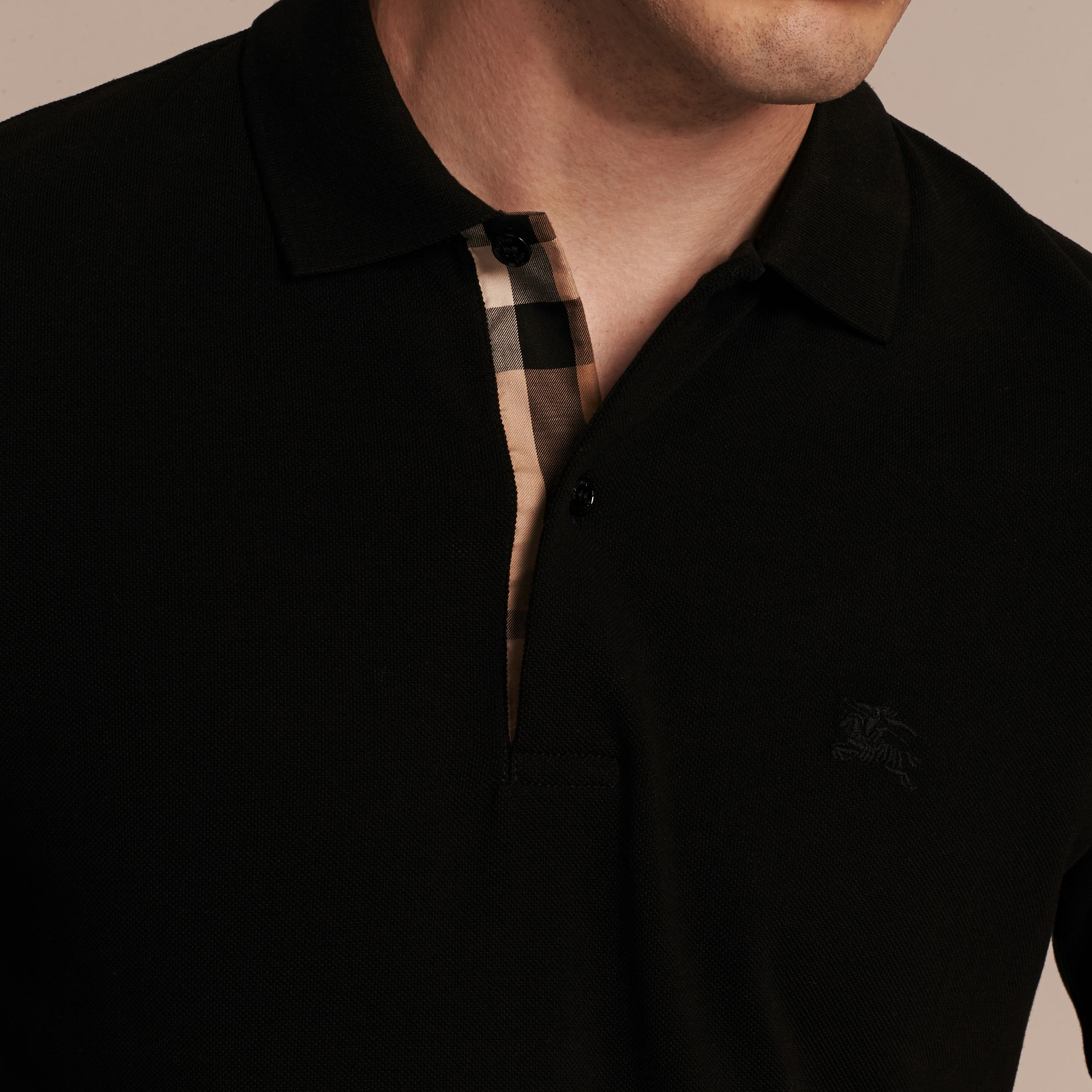 Black Check Placket Cotton Piqué Polo Shirt Black - gallery image 5