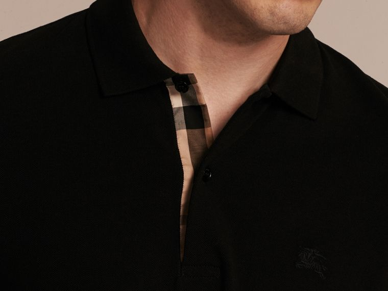 Black Check Placket Cotton Piqué Polo Shirt Black - cell image 4