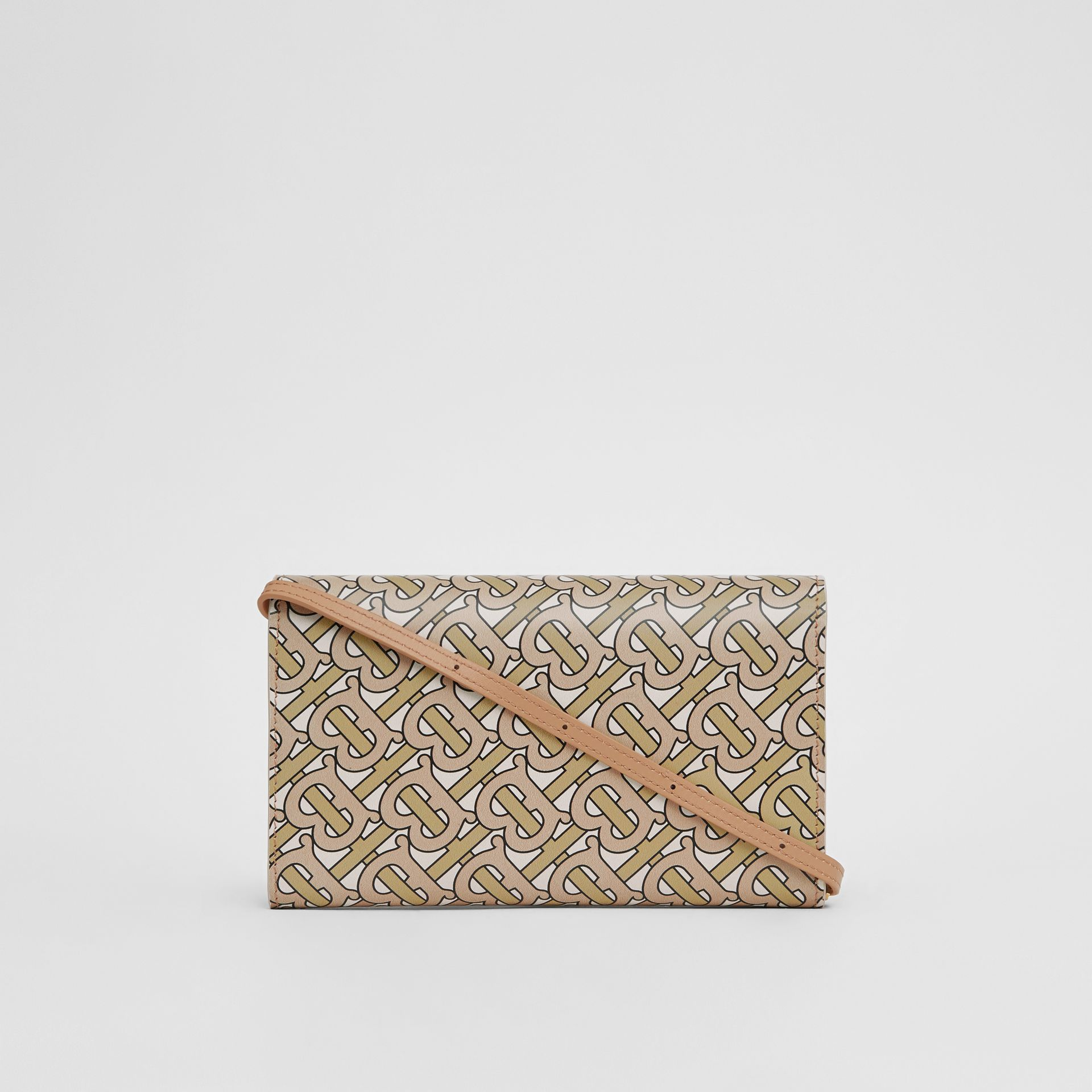 Monogram Print Leather Wallet with Detachable Strap in Beige - Women | Burberry - gallery image 7