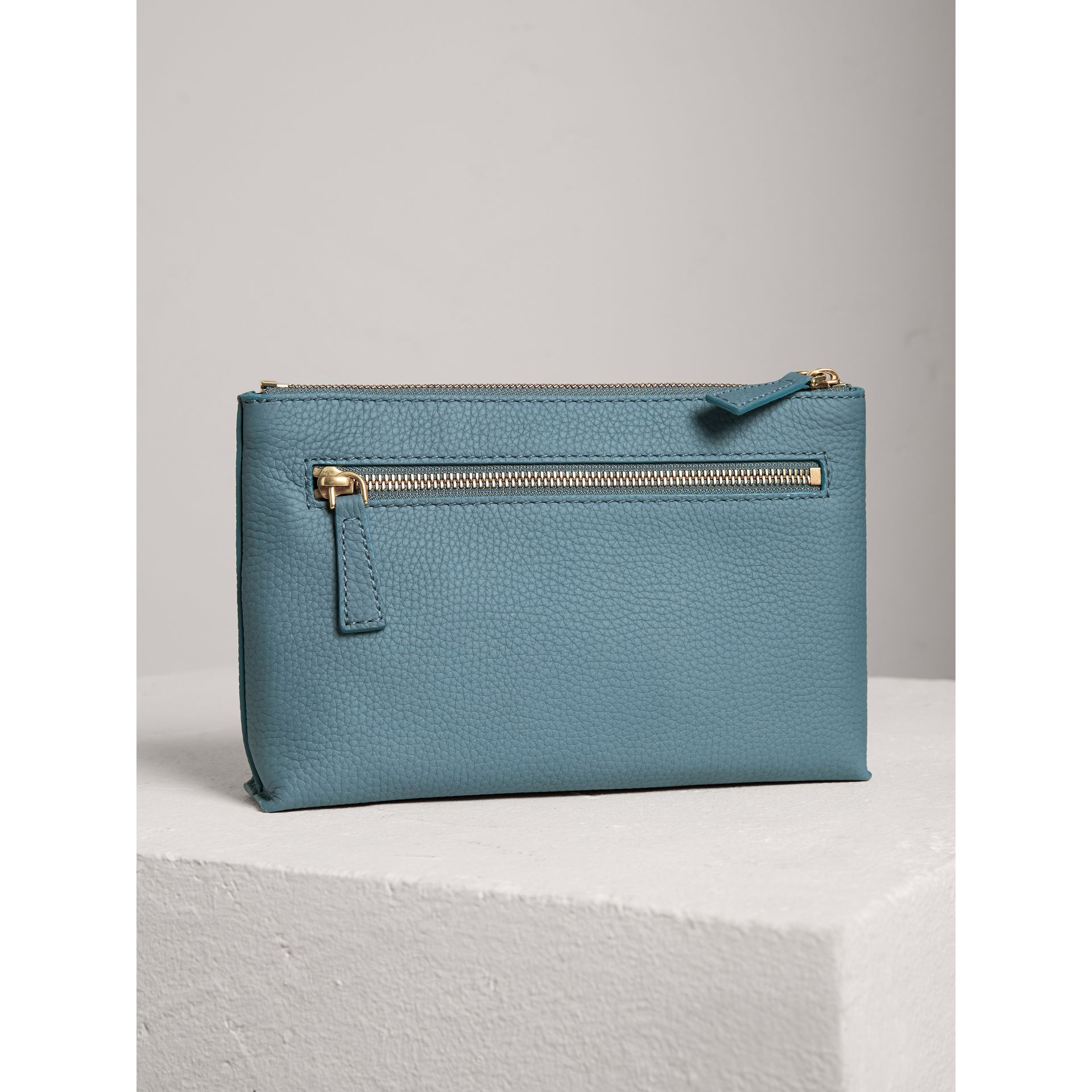 Medium Embossed Leather Zip Pouch in Dusty Teal Blue | Burberry - gallery image 2