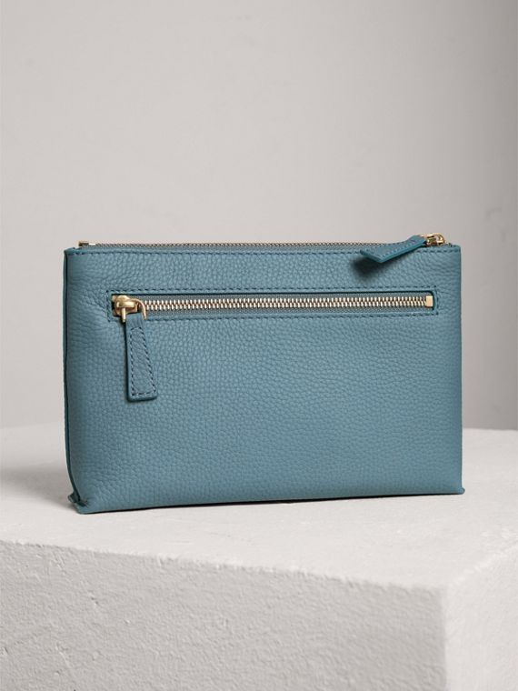 Medium Embossed Leather Zip Pouch in Dusty Teal Blue | Burberry - cell image 2