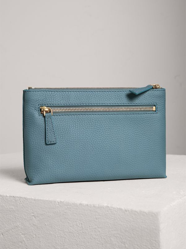 Medium Embossed Leather Zip Pouch in Dusty Teal Blue | Burberry Canada - cell image 2