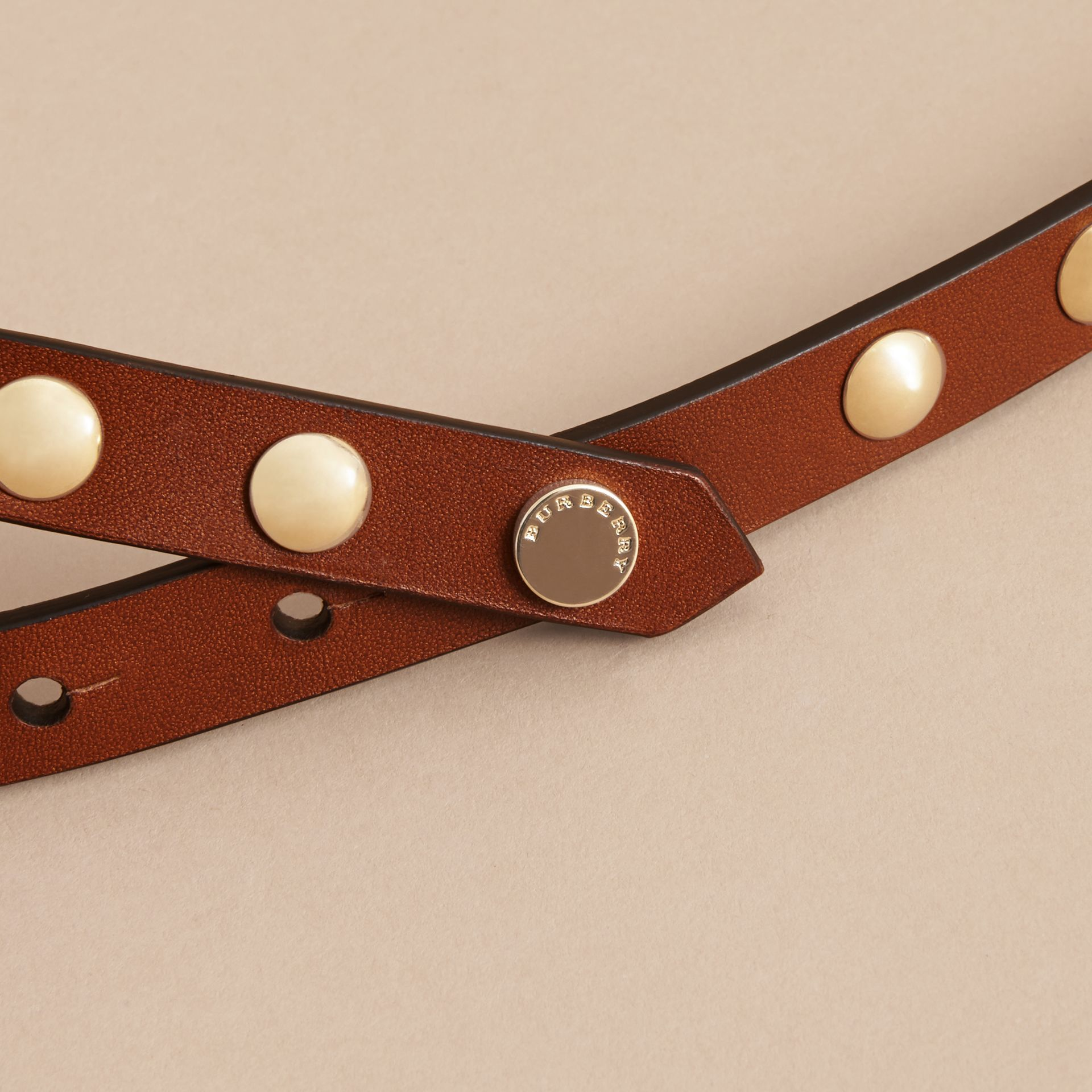 Studded Bridle Leather Double-wrap Belt in Tan - Women | Burberry Australia - gallery image 2