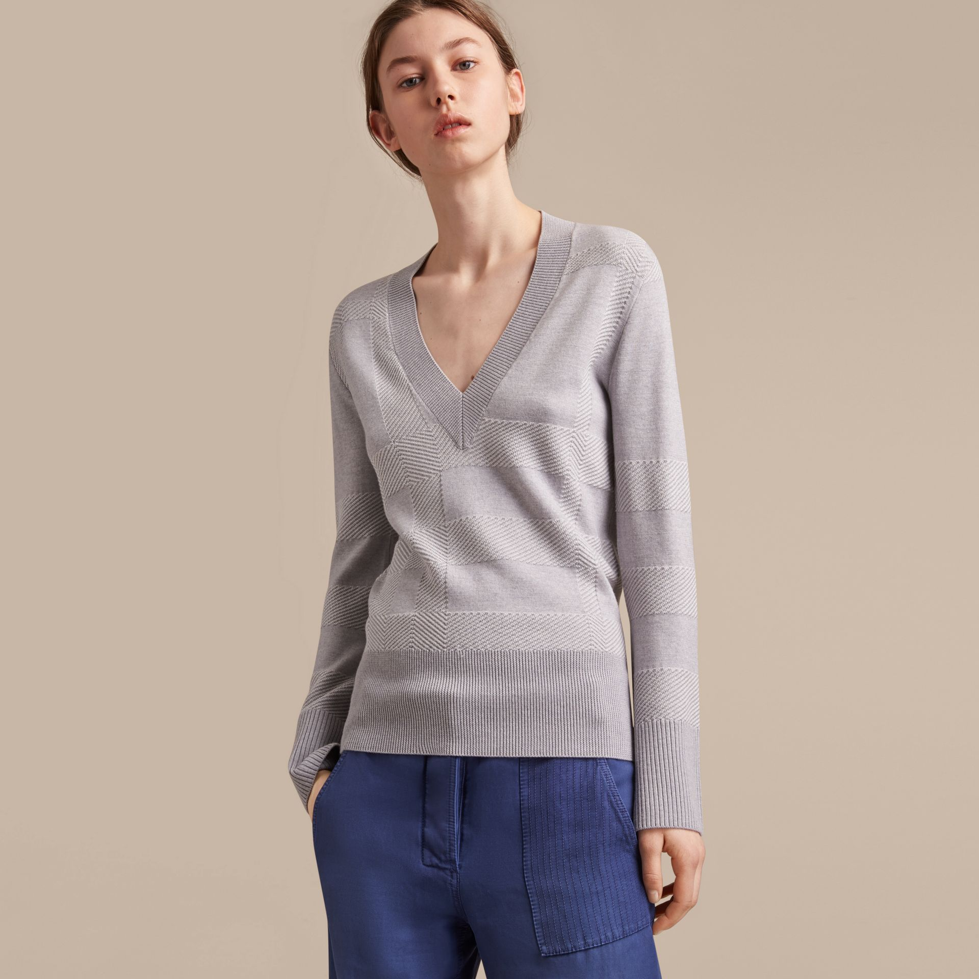 Check Merino Wool Silk Cotton V-neck Sweater in Pale Grey Melange - Women | Burberry - gallery image 6