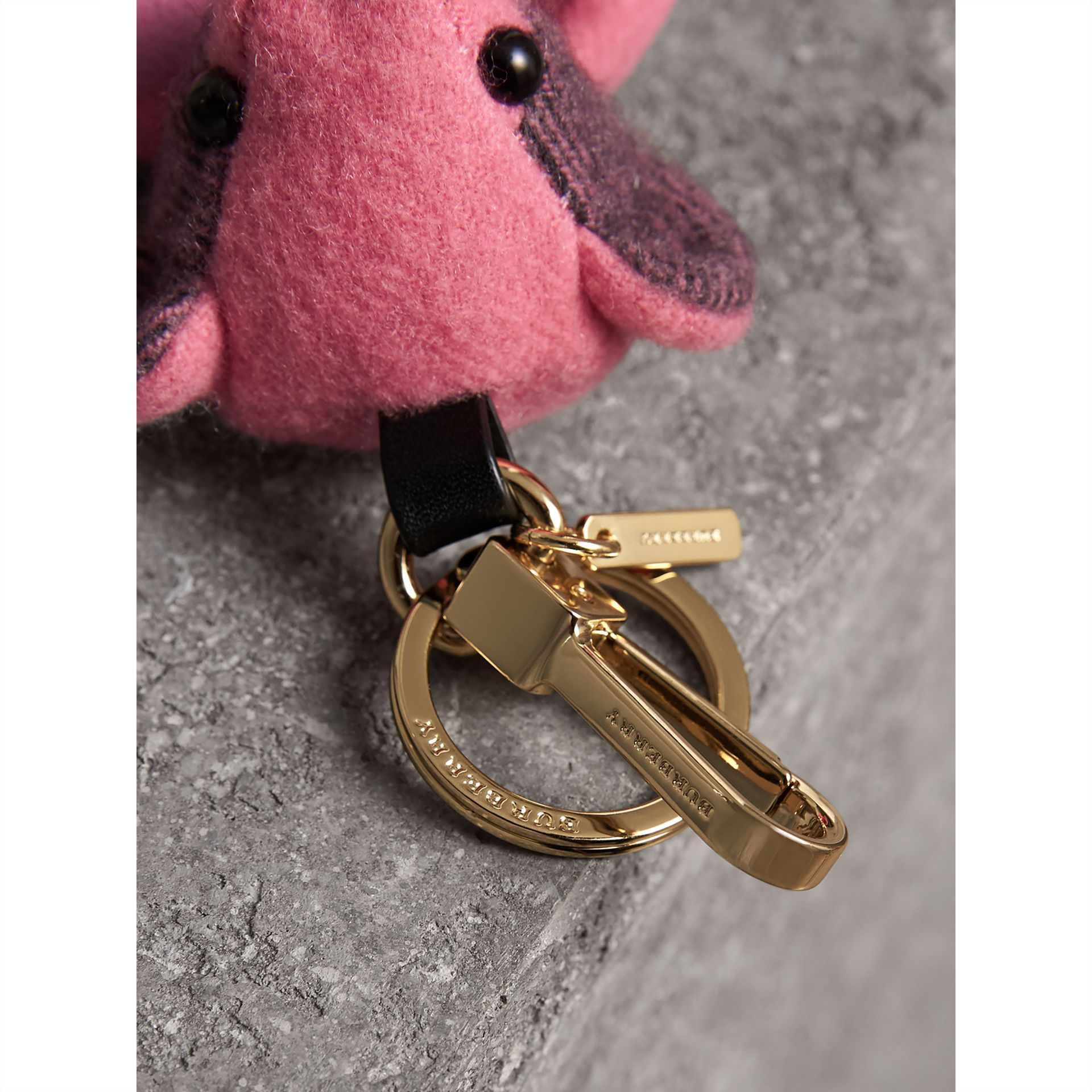 Thomas Bear Charm in Check Cashmere in Rose Pink - Women | Burberry - gallery image 2