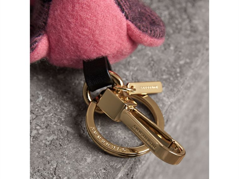 Thomas Bear Charm in Check Cashmere in Rose Pink - Women | Burberry - cell image 1